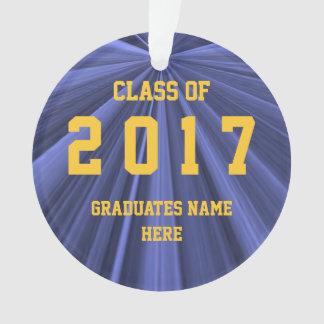 Classe de 2017 azuis e de ornamento do ouro por
