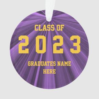 Classe de 2023 roxos e de ornamento do ouro por