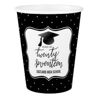 Classe de um preto de 2017 bolinhas do chapéu copo de papel