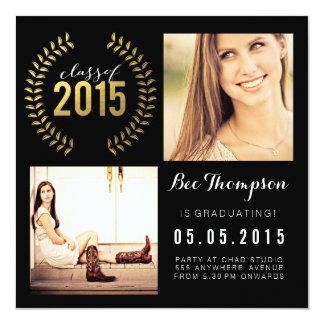 Classe do brilho do ouro de 2015 cartões com fotos convite quadrado 13.35 x 13.35cm