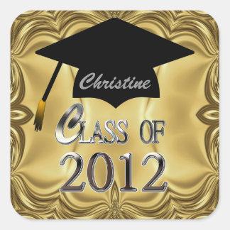 Classe dos selos 2012 da graduação do ouro adesivos quadrados