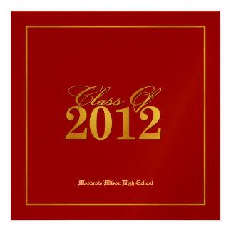 Classe elegante do vermelho do ouro de 2012 anún convite personalizado