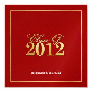 Classe elegante do vermelho & do ouro de 2012 convite personalizado