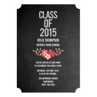Classe graduada floral do quadro da foto 2015 convite 12.7 x 17.78cm
