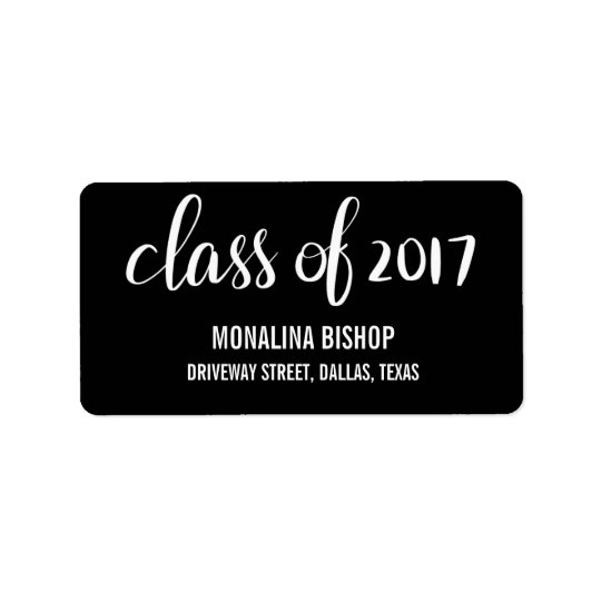 Classe graduada moderna do preto 2017 da etiqueta de endereço