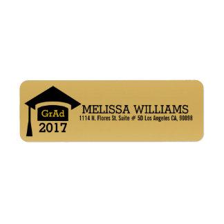 Classe moderna do preto & do ouro da graduação etiqueta endereço de retorno