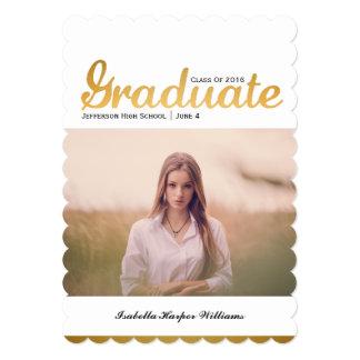 Classe na moda da foto da graduação do ouro chique convite 12.7 x 17.78cm