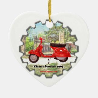Classic_Scooter_1960 Ornamento De Cerâmica Coração