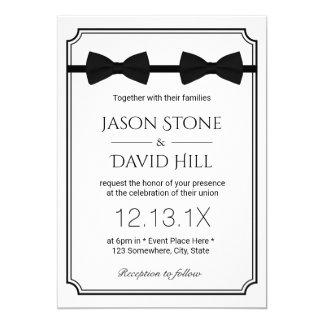 Clássico alegre dos laços do dobro do casamento convite 12.7 x 17.78cm