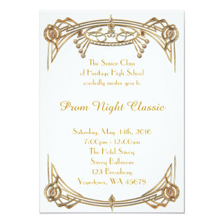 Clássico da noite de baile de formatura convite 12.7 x 17.78cm