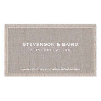 Clássico elegante da textura de linho do cartão de visita