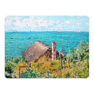 Claude Monet a cabine em belas artes do Convite 16.51 X 22.22cm