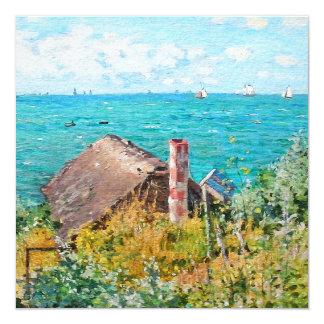 Claude Monet a cabine em belas artes do Convite Quadrado 13.35 X 13.35cm