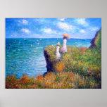 Claude Monet: Caminhada do penhasco em Pourville Poster