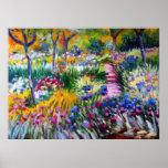 Claude Monet: Jardim da íris por Giverny Poster