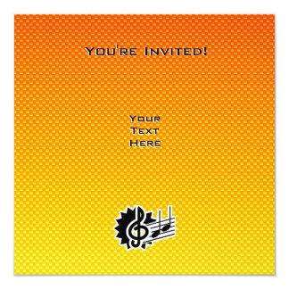 Clef de triplo amarelo alaranjado convite quadrado 13.35 x 13.35cm
