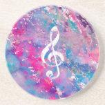 Clef de triplo azul cor-de-rosa da nota da música  porta-copos