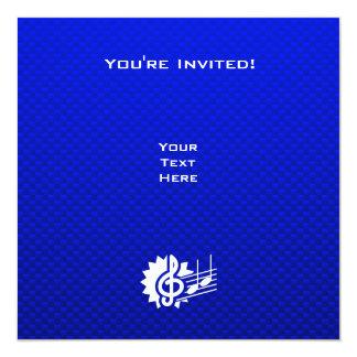 Clef de triplo azul; Notas da música Convite Quadrado 13.35 X 13.35cm