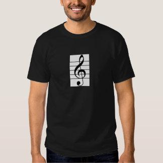 Clef de triplo dos homens/camisa do violino para o camiseta