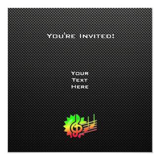 Clef de triplo lustroso convite quadrado 13.35 x 13.35cm