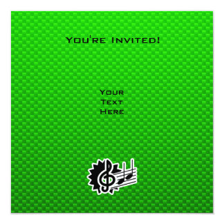 Clef de triplo verde convite quadrado 13.35 x 13.35cm