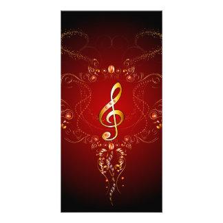 Clef dourado elegante com elementos florais cartão com foto