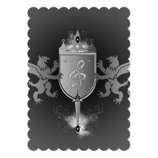 Clef em um protetor decorativo convite 12.7 x 17.78cm