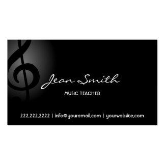 Clef escuro elegante do professor de música cartão de visita