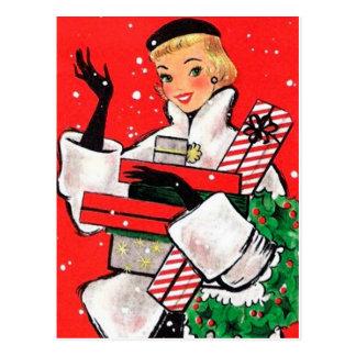 Cliente do Natal do anos 50 Cartão Postal