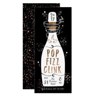 Clink do Fizz do pop de Champagne do ouro do Convite 10.16 X 23.49cm
