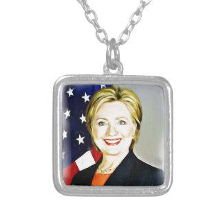 Clinton-Presidente de Hillary de USA_ Colar Banhado A Prata
