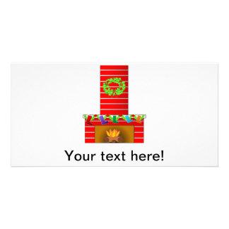 Clipart da lareira do Natal Cartão Com Foto