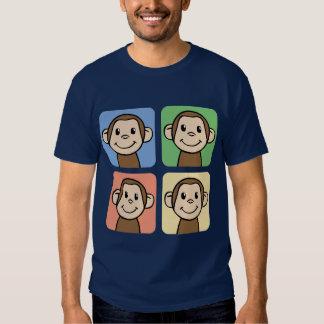 Clipart dos desenhos animados com os 4 macacos t-shirt