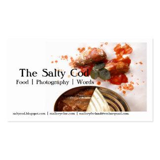 clique, o bacalhau salgado, palavra da fotografia  cartoes de visita