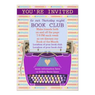 Clube de leitura personalizado máquina de escrever convite 12.7 x 17.78cm