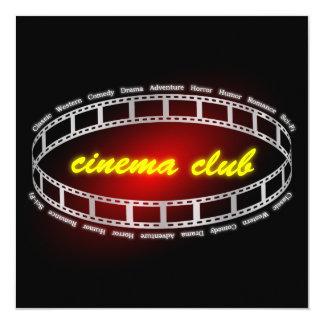 Clube do cinema convite quadrado 13.35 x 13.35cm