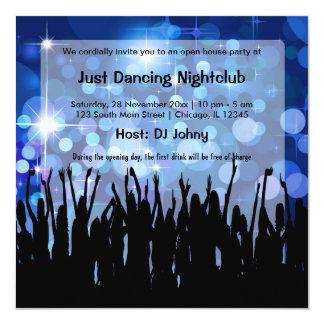Clube nocturno da grande inauguração convite quadrado 13.35 x 13.35cm