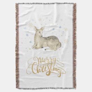 Cobertor Aguarela do Natal | - cervo bonito do inverno