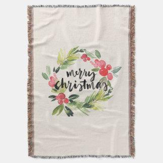 Cobertor Aguarela do Natal | - grinalda do Feliz Natal