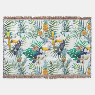 Cobertor Aguarela tropical do pássaro do papagaio do