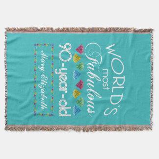 Cobertor aniversário do 90 a maioria de turquesa colorida