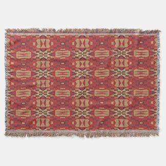 Cobertor Arte étnica ecléctico alaranjada bege vermelho