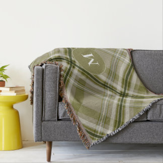 Cobertor azeitona monótono e xadrez bege modeladas