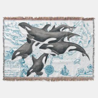 Cobertor Azul antigo da família das baleias da orca