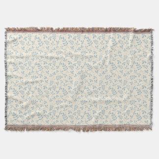 Cobertor Azul Assorted de Sml Ptn das folhas no creme