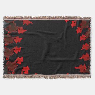 Cobertor Branco preto vermelho do Fractal