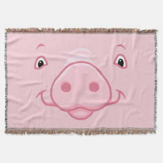 Cobertor Cara cor-de-rosa feliz bonito do porco