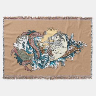 Cobertor cavalo marinho mitológico