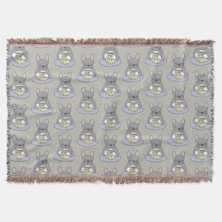 Cobertor Chás altos com o Frenchie rajado azul bonito