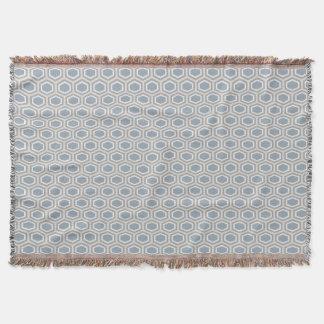 Cobertor Cinza azul Tan do teste padrão do hexágono da
